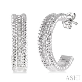 silver rope diamond earrings
