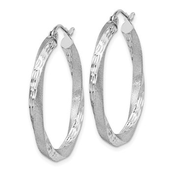 Sterling Silver Rhod-plated Satin Diamond-cut Twisted 3x30mm Hoop Earrings