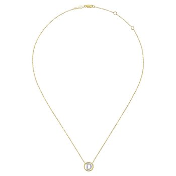 "14K Yellow Gold Diamond ""D"" Initial Necklace"