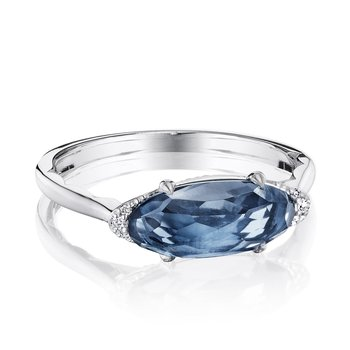 Solitaire Oval Gem Ring with London Blue Topaz