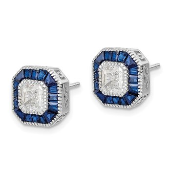 Sterling Silver Rhodium-plated Synthetic Blue Spinel/CZ Earrings