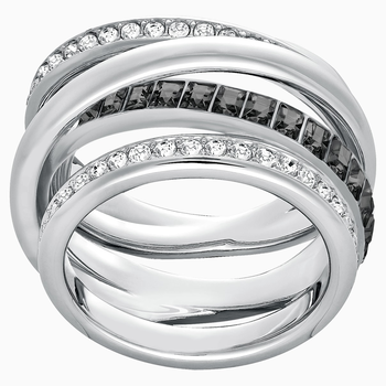 Dynamic Ring, Gray, Rhodium plated