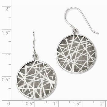 Leslie's SS Ruthenium-plated Laser Design Shepherd Hook Earrings