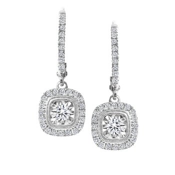 Square Diamond Accent Drop Earrings
