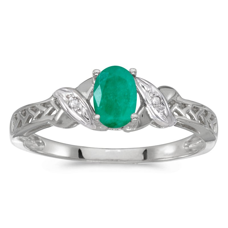Color Merchants 10k White Gold Oval Emerald And Diamond Ring