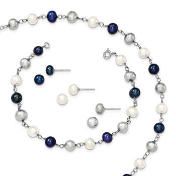 Sterling Silver Rhodium FWC Pearl Necklace/ Bracelet/3pc Earring Set