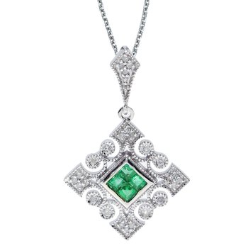 14k White Gold Emerald and .10 ct Diamond Filigree Pendant