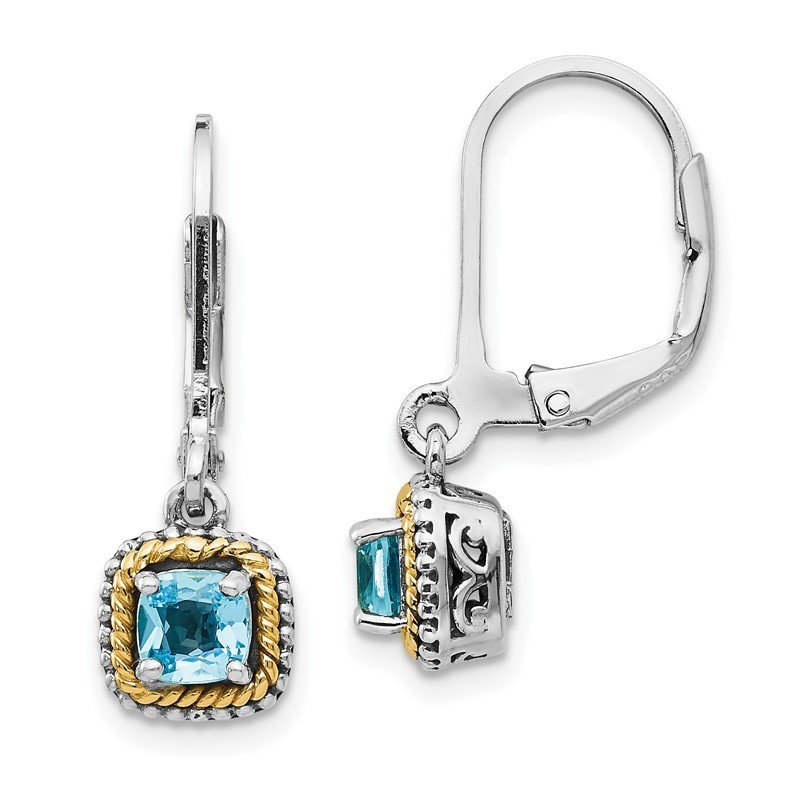Quality Gold Sterling Silver w/14k Blue Topaz Earrings