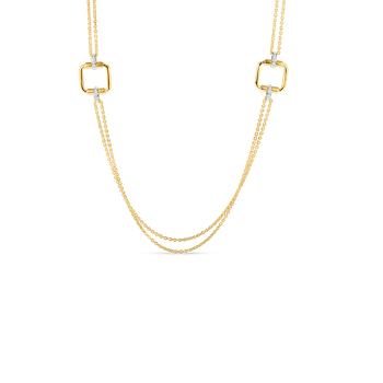 18K LONG CHAIN W. SQUARE ELEMENTS & DIA ACCENT