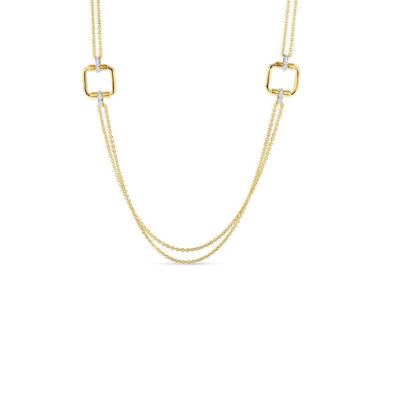 Roberto Coin 18K Long Chain W. Square Elements & Dia Accent