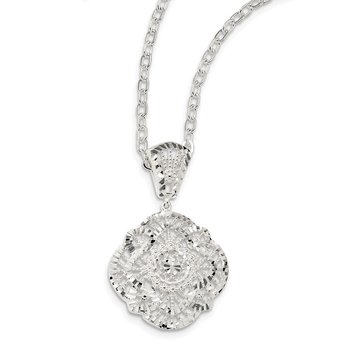 Sterling Silver Diamond Cut Fancy Necklace