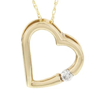 10k Yellow Gold Diamond Accent Heart Pendant