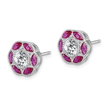 Sterling Silver Rhodium-plated Created Ruby & CZ Post Earrings