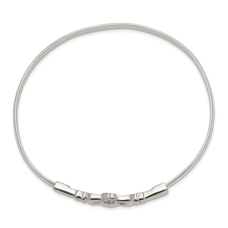 Quality Gold Sterling Silver Claddagh Bangle Bracelet
