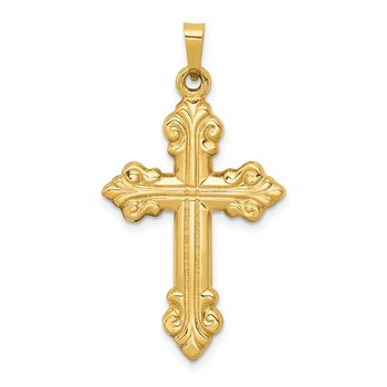14k Polished Cross Budded Pendant