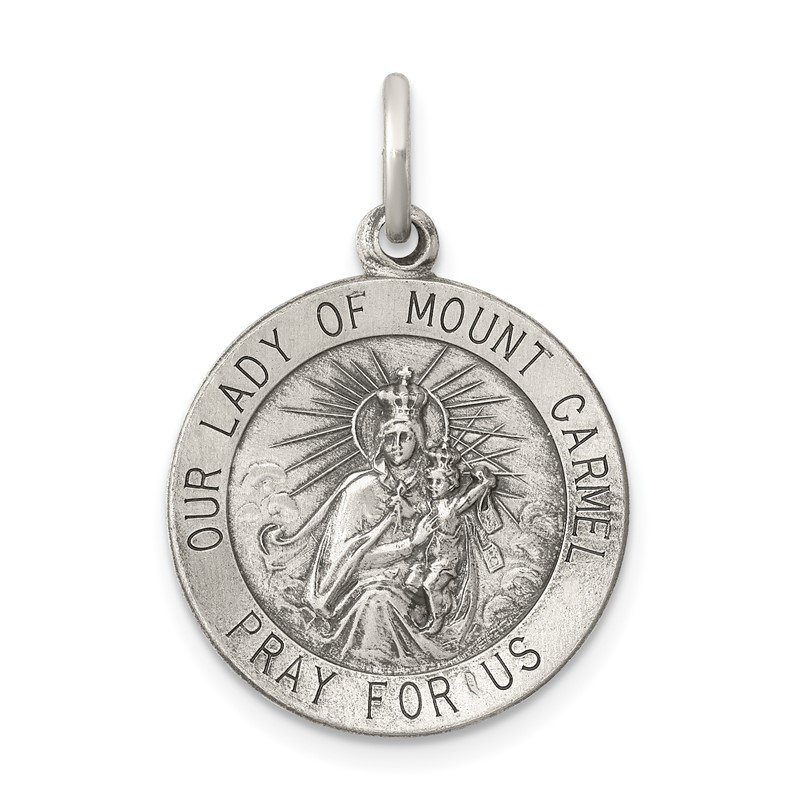Quality Gold Sterling Silver Antiqued Our Lady of Mount Carmel Medal