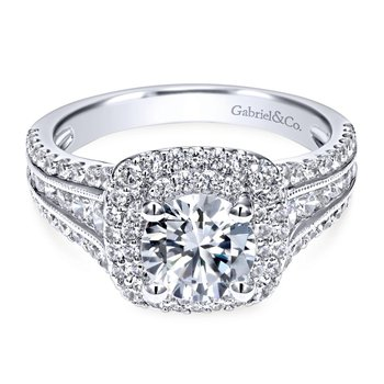 14k White Gold Diamond Milgrain and Channel Setting Double Halo Engagement Ring