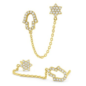 Gold and Diamond Single Faith Single Earring