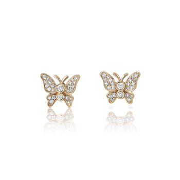Diamond Butterfly Earrings 18KR