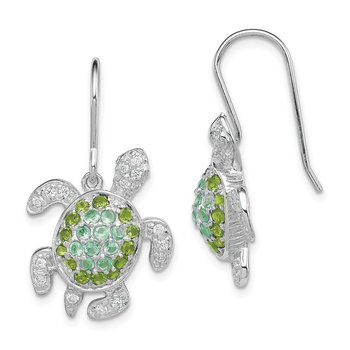 Sterling Silver Rhodium-plated Multi CZ Turtle Dangle Earrings