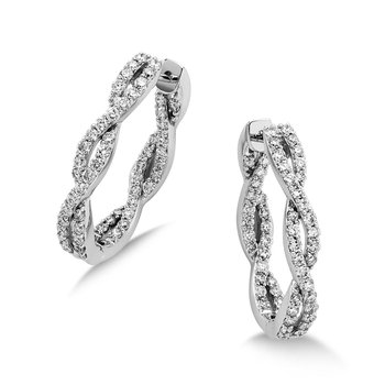 Pave set Diamond Twisted Inside/Out Hoops in 14k White Gold (2 ct. tw.) JK/I1