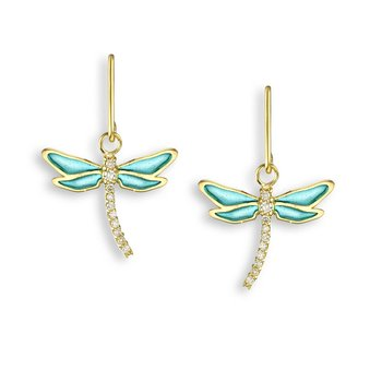 Turquoise Dragonfly Wire Earrings.18K -Diamonds - Plique-a-Jour