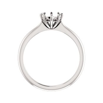 18K White 6.5 mm Round 8-Prong Engagement Ring Mounting