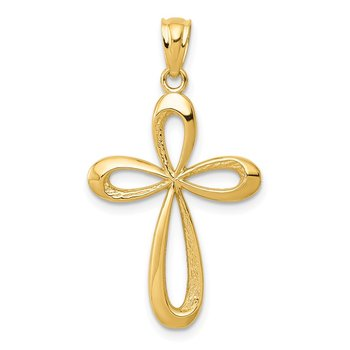 14k Gold Polished Ribbon Cross Pendant