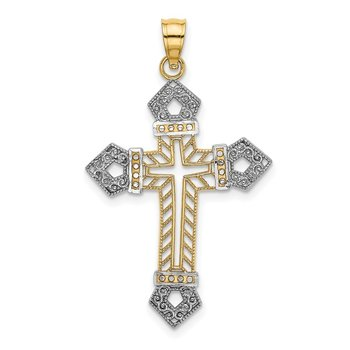 14K W/ Rhodium Textured Passion Cross Charm