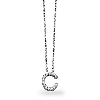 "Diamond Block Initial ""C"" Necklace in 14k White Gold with 13 Diamonds weighing .10ct tw."