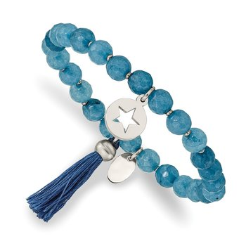 Stainless Steel Polished Star w/Tassel Blue Agate Beaded Stretch Bracelet