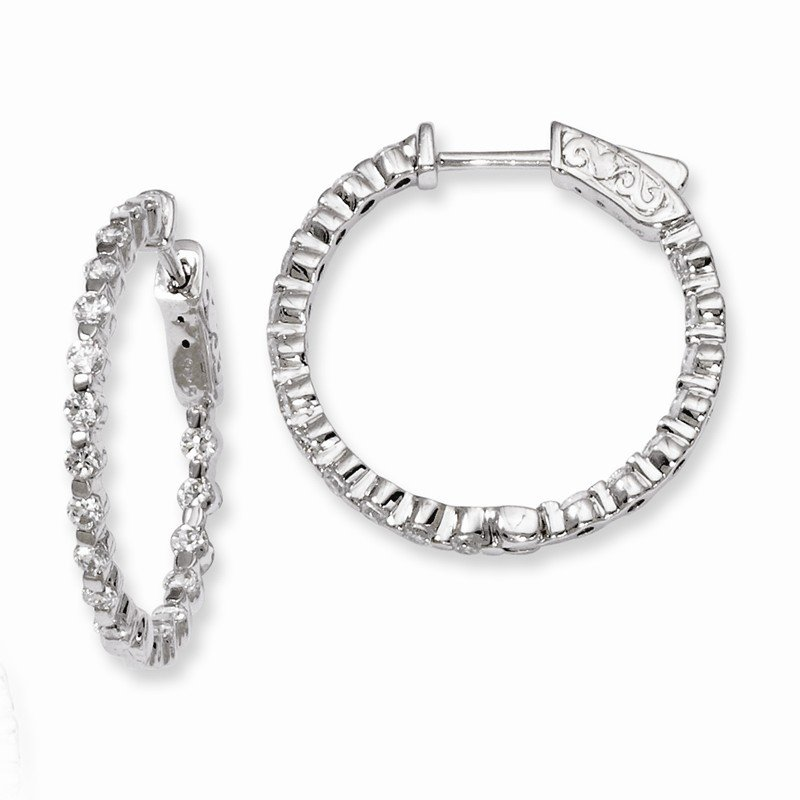 J.F. Kruse Signature Collection Sterling Silver Rhodium-plated CZ In and Out Hinged Hoop Earrings