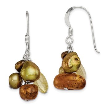 Sterling Silver Amber/Citrine and Copper FW Cultured Pearl Earrings