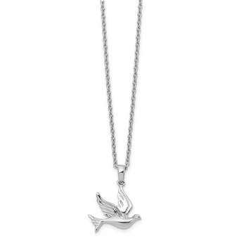 SS White Ice Diamond Dove Necklace