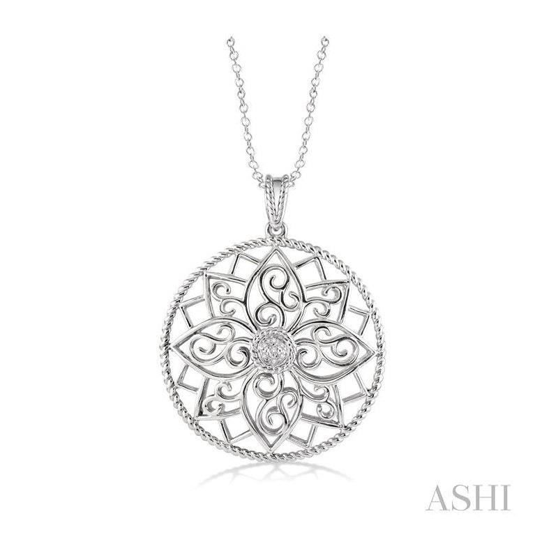 ASHI silver circle diamond pendant