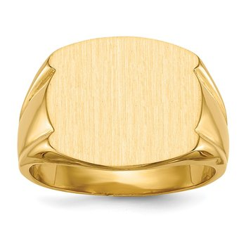 14k 15.0x16.5mm Closed Back Men's Signet Ring