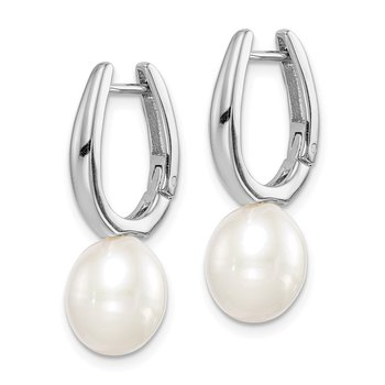 Sterling Silver Rhod-plat 7-8mm White Rice FWC Pearl Earrings