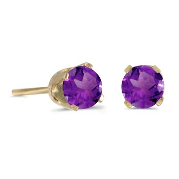 14k Yellow Gold 4 mm Round Amethyst Stud Earrings