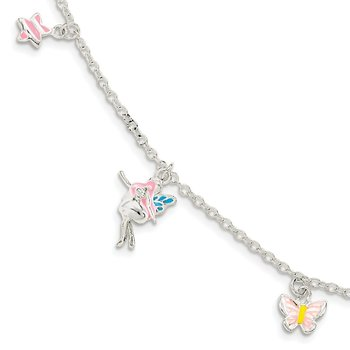 SS Children's Enameled Star/Fairy/Butterfly 5.5in Plus 1.5in ext. Bracelet