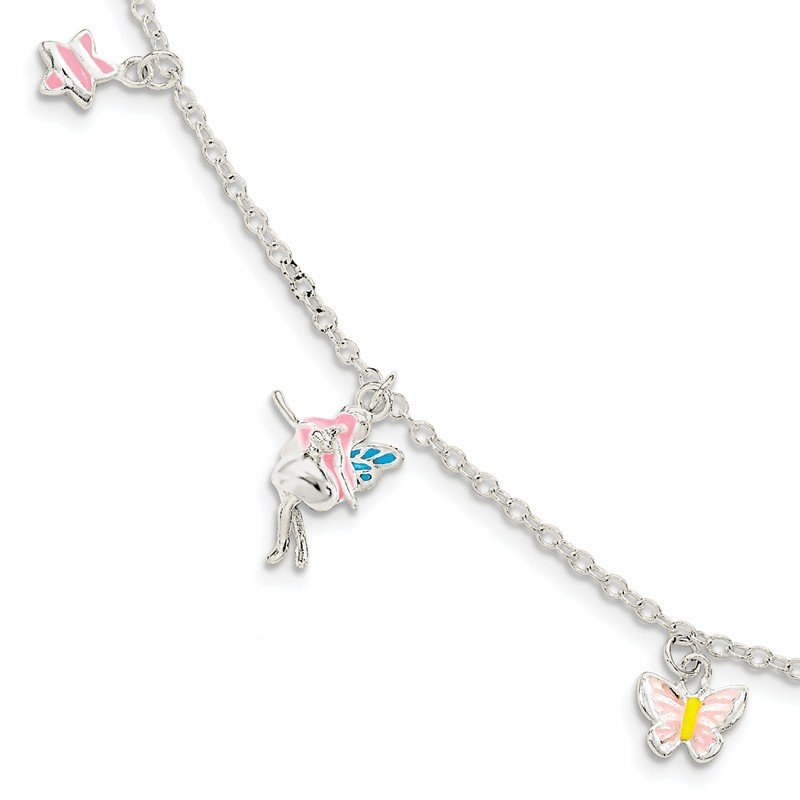 Quality Gold SS Children's Enameled Star/Fairy/Butterfly w/1.5in ext. Bracelet
