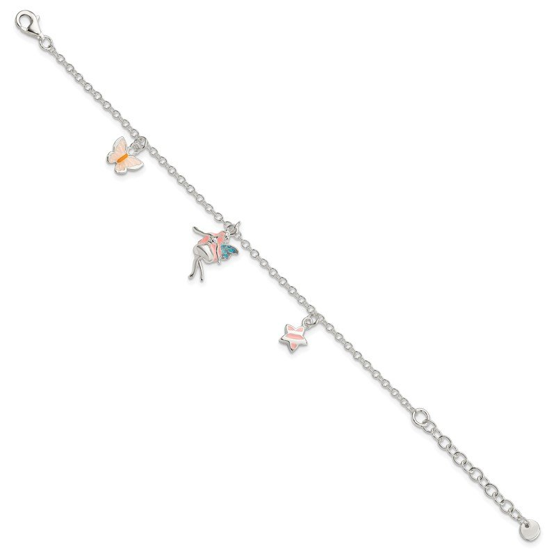 Quality Gold SS Children's Enameled Star/Fairy/Butterfly 5.5in Plus 1.5in ext. Bracelet