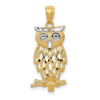 14k Yellow Gold Rhodium Diamond Cut Owl Pendant