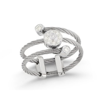 Grey Cable Flex Ring with Round Diamond Stations set in 18kt White Gold