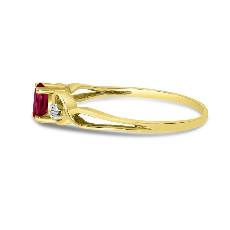 Color Merchants 10k Yellow Gold Oval Rhodolite Garnet And Diamond Ring