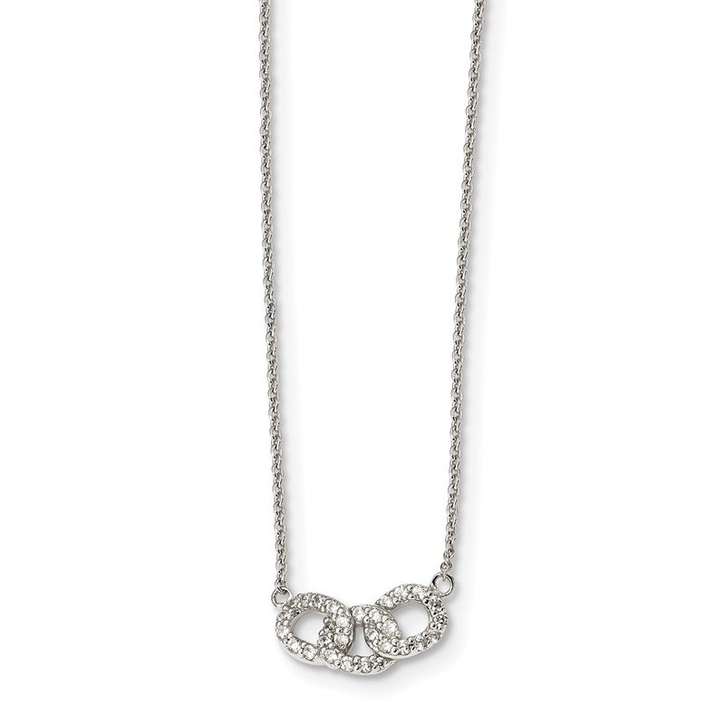 Quality Gold Sterling Silver CZ 18in Necklace