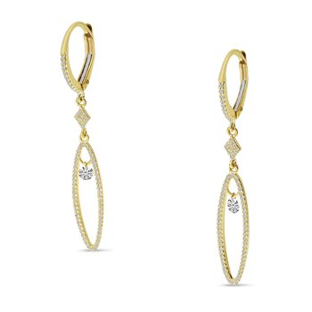 14K Yellow Gold Oval Hanging Diamond Earrings