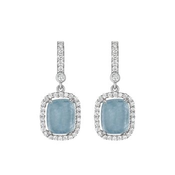 Cushion Blue Jean Aquamarine Earrings