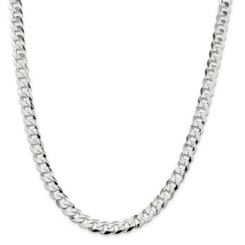 Sterling Silver 8.5mm Flat Curb Chain