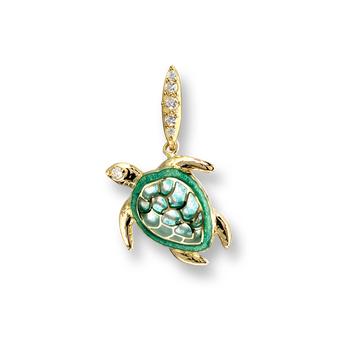 18 Karat Gold Turtle Necklace-Green.  Diamonds.