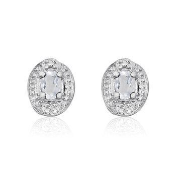 14k White Gold White Topaz Earrings with Diamonds